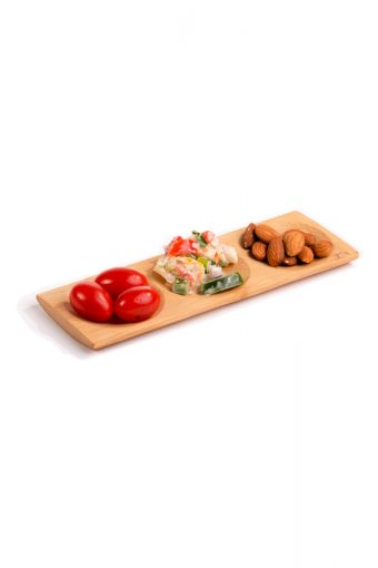Assiette rectangulaire 3 compartiments en bambou - Patong