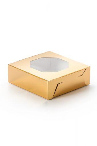 Boite à pâtisserie dorée avec fenêtre 7''