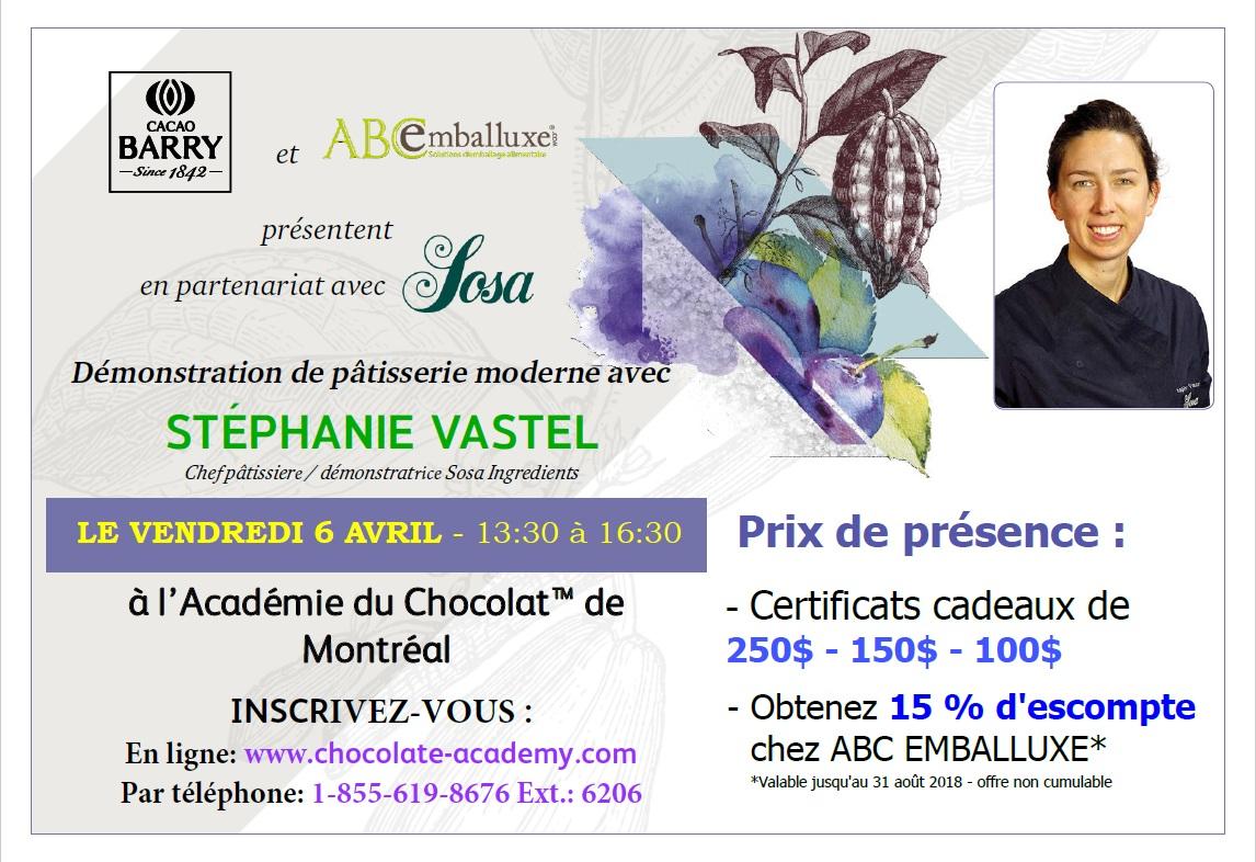 Démo du 6 avril 2018 à l`Académie du Chocolat de Montréal